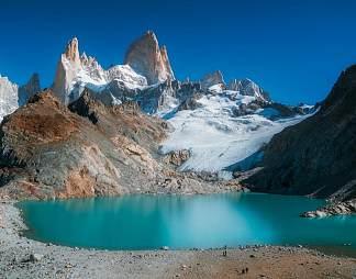湖泊雪山自然风景图片